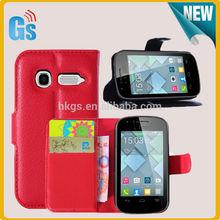 Black Flip Leather Case For Alcatel One Touch Pop C1 OT4015 4016