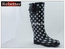 polka dots women rubber rain boots