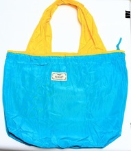 zipper style waterproof nylon tote bag with wide yellow handle