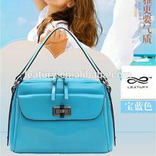 High Quality Sky-Blue Leather Women Handbags Popular Ladies Totes
