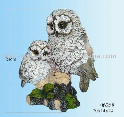 Polyresin owls w/solar light