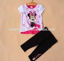 design 100 % cotton baby clothes children wear korean t-shirt and pants 2 pcs set