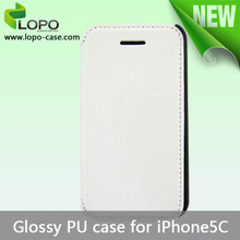 China manufacturer Sublimation PU leather case flip cover for iPhone5C glossy surface cover