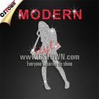 Modern lady fashion glitter transfer motif designs for garment