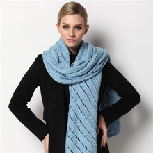 Wool scarf women's pure color knit scarf shawl