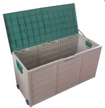 290L capacity plastic storage chest with wheels lid