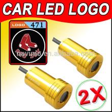 2014 car Ghost Shadow Light LED for Boston Red Sox MLB Baseball Laser Welcome Door Light Badge Logo 3D 12V 5w golden