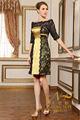 2015 uma - linha nova design fora ombro preto laço cor de ouro curto vestido de noite