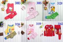 New Fashion baby boys and girls spring and autumn long sleeve 2pcs 100% cotton sleepwear kids pajama