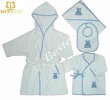 Luxury Short Plain White Hooded Cotton Terry Baby Bathrobe set