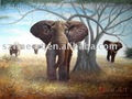elefante pintura al &oacute;leo