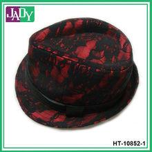 Black Red Lace Cap Fedora Hat
