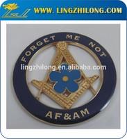 Blue Forget Me Not Custom Metal Masonic Auto Badge