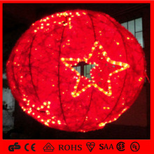 shop or market red color holiday light 3d motif ball with start