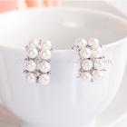 2014 Hot sale lovely pearl crystal hoop earrings ear stud for women FE3300