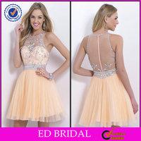 EDP151 Bling Beaded Crystal Short Tulle Prom Dress