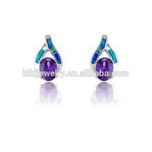 Luxury Lab-Created Opal Intertwined Pierced Purple Diamond Earrings