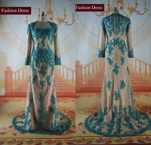 Real Photo Elegant Sweetheart Quality Lace Applique Muslim Long Sleeve Evening Dress