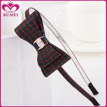 Scottish plaid bow headbands hair accessory