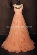 Real sample peach color bridesmaid dress