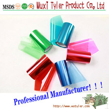 Color plastic film with adhesive