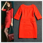 2014 Female Office Dress 2Colors Black/Red Simple Style Business Ladies Elegant Half Sleeve Slim Fashion Office Women Dresses