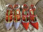New designer studded ladies high heel shoes 2014 mix color high heels