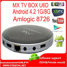 XBMC skype android Amlogic 8726 MX TV Box U6D tv box super cheap dual core tv box 1G/8G