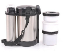 New 1500ML+500ML Double wall vacuum stainless steel Thermos lunch box