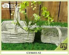 BSCI white-wash wild wicker garden flower baskets