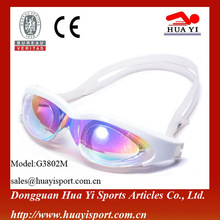 Supplier of adult silicone adjustable straps mirrored swimming goggles