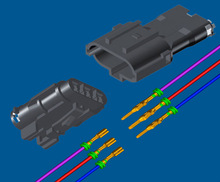 3 pin plastic male and female wire to wire auto connectors