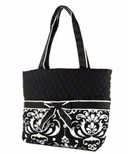 Cotton Shopping Tote Bag Flower Accent Tie NWT Handbag Purse Black