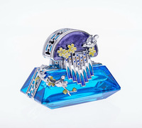 luxurious gifts blue crystal perfume bottle engraved flower birds