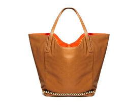 2014 New Ladies Shopping bag Tan Color Fashion PU handbag Chain Decoration Tote Bag From Factory