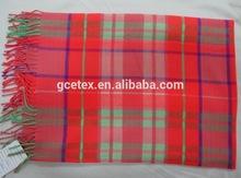 GCEBKT042 Red plaid with tassels soft cashmere blanket