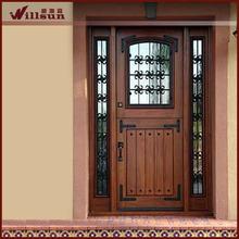 Wrought iron glass insert used exterior doors for sale metal door