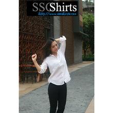 Sscshirts 2014 100% de linho moda Casual modelo blusa para uniforme
