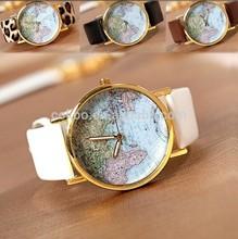 new ladies Wristwatches word map watch leather quatrz watch for women men ladies brand dress watch accept paypal