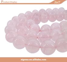 2014 Hot sale round bead 10mm semi-precious stone natural rose quartz rough