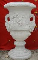 Manor garden decoration carved stone antique brown glass vase
