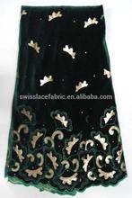 Material for curtain velvet velvet designer dresses R70 green african velvet lace with sequin