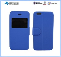 graceful PU leather cover for iphone 6 / 6S with window for time display