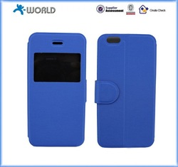 graceful PU leather cover for iphone 6 with window for time display