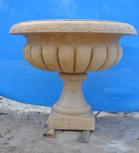 External graden decoration carved stone mosaic different types glass vase
