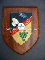 Wood Wall Shield Plaque. Satcom Bad Bergzabern Made in China