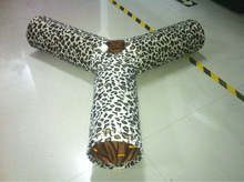 leopard short plush three way cat tunnel