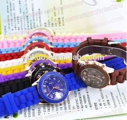 Geneva Silicone Golden Crystal Stone Quartz Ladies/Women/Girl Jelly Wrist Watch Candy Colors