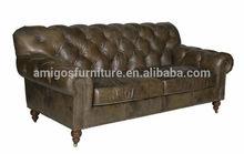 Old Fashioned Leather Sofa, Aged Leather Sofa