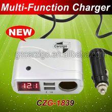 treble USB ports 5v 2 Amper output Square DC 10v-30v input car cigar charger